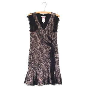 Yoana Baraschi Black & Nude Lace Overlay Dress